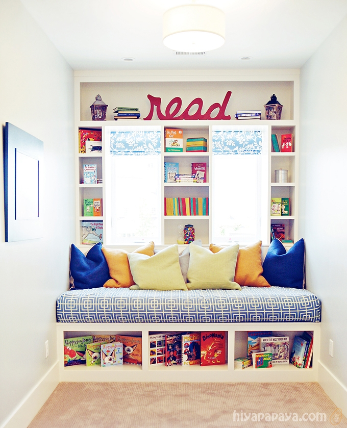 kids-room-reading-corner-organizing-diy-bench-wall-mounted-shelves-for-storing-toys-books