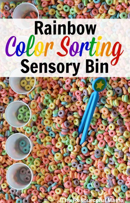 cereal color sorting bins