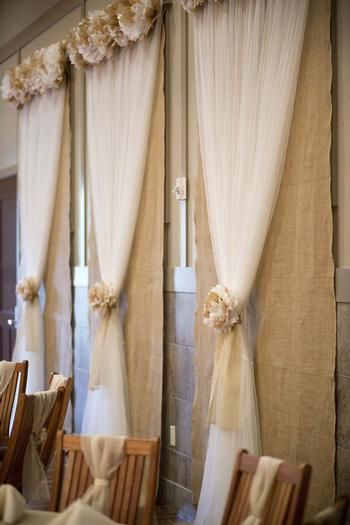 burlap and tulle curtains