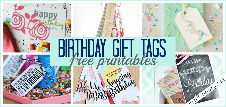 Birthday gift tags with free printables