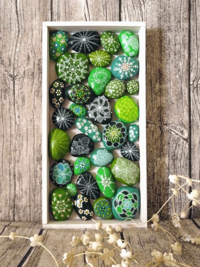 Painted rocks cactus pebbles decor