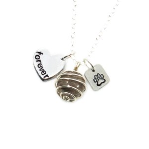 Memorial bead necklace with custom name charm and paw print
