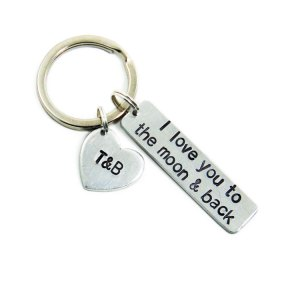 I love you to the moon and back keychain with heart charm