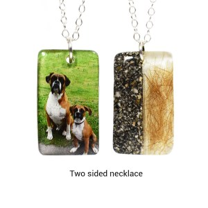 Custom photo necklace with your pet's hair and ashes