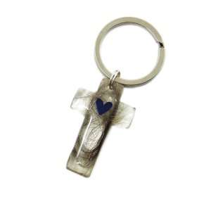Cross memorial keychain with birthstone heart