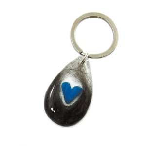 Bereavement keychain custom with your pet or loved one's hair or ashes and birthstone heart
