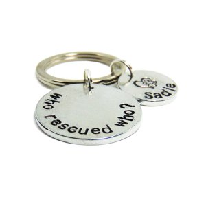Who Rescued Who keychain custom to your pet's name