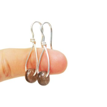 Cremation bead dangle sterling silver earrings