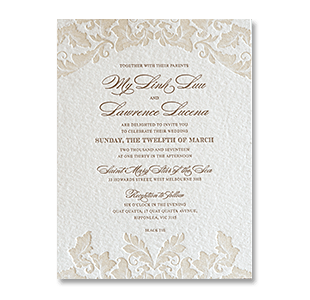 Letterpress Vine Leaves Melbourne Australia Wedding Invitation