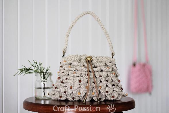 Crocodile Stitch Drawstring Purse Free Crochet Pattern