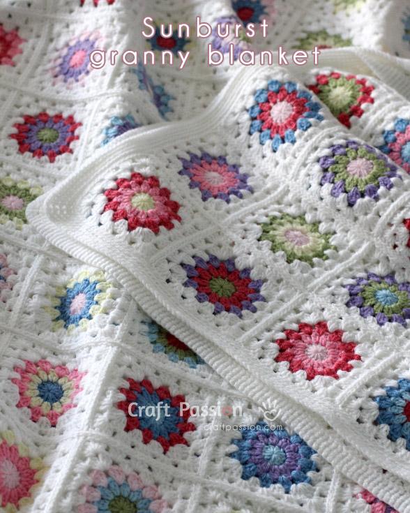 Sunburst Granny Square Blanket Free Crochet Pattern