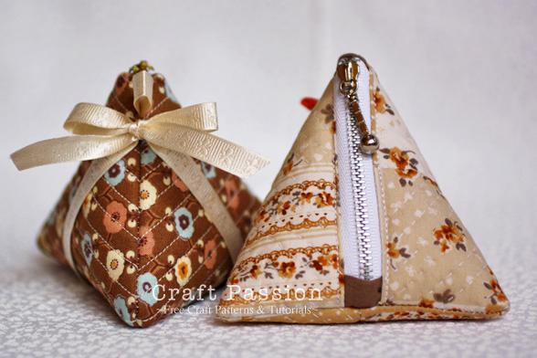 zipper triangle coin purse