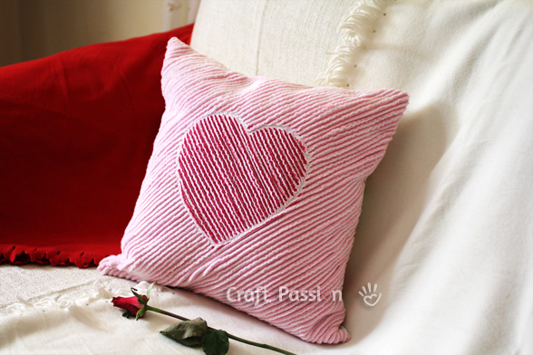 Valentine Pillow with chenille heart