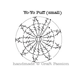 yo-yo puff crochet diagram pattern