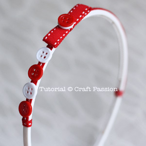 Decorate headband with ribbon and button