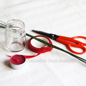 tools and materials to make fabric poinsettia