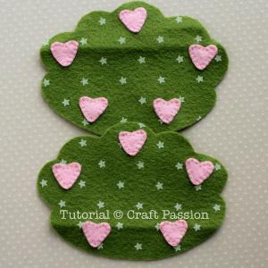 sew hearts to tree