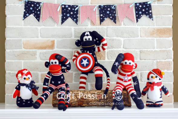 July 4th sock animals