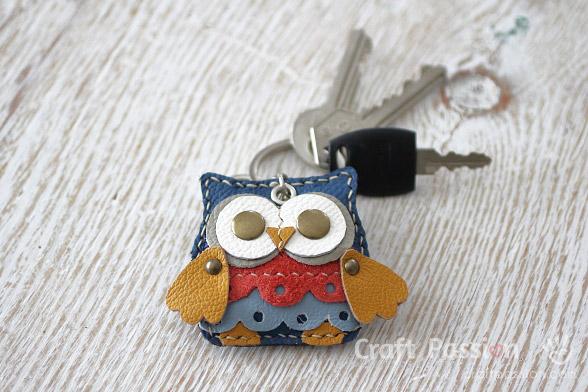 leather owl charm