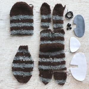 raccoon sew from sock