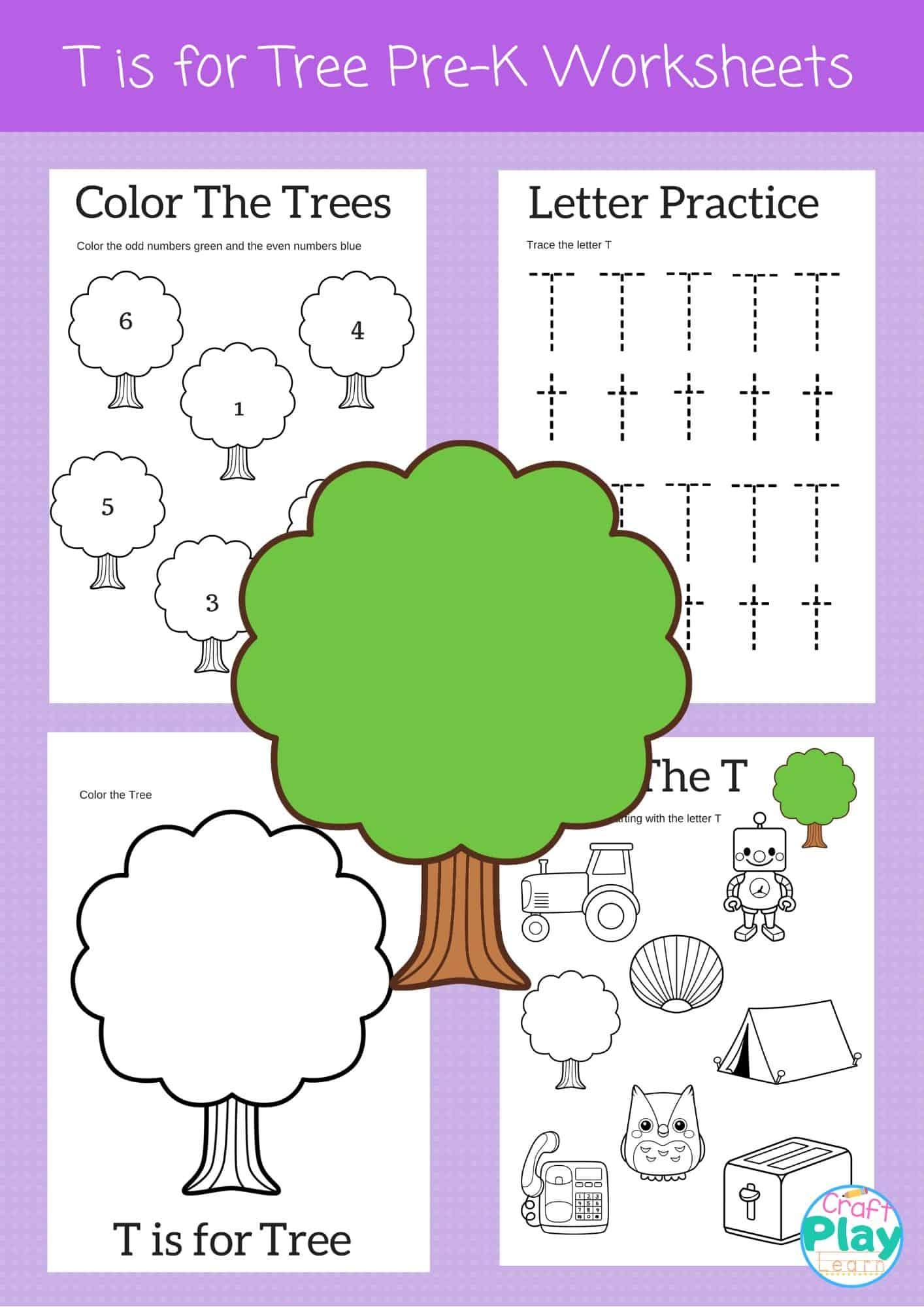 Letter T Worksheets For Preschool Kids