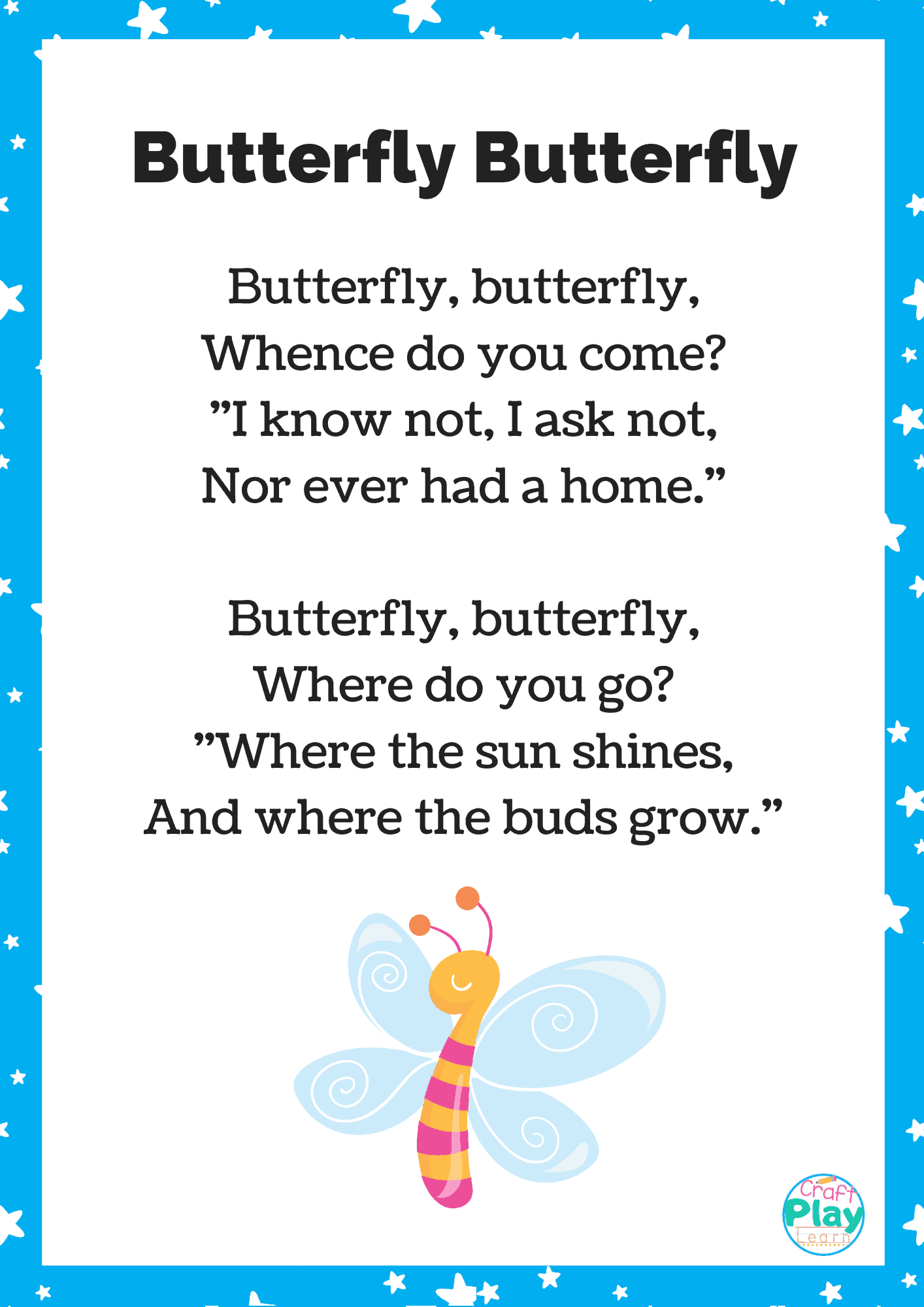 Printable Butterfly Song For Kids Plus Activity Ideas