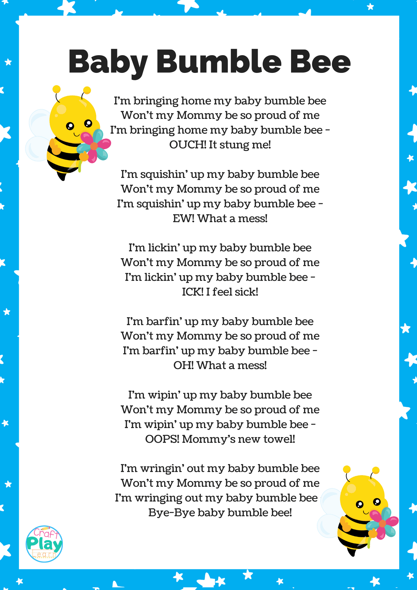 Baby Bumble Bee Song Activities And Lessons
