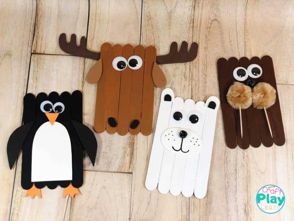Arctic Animals Penguin Polar Bear Walrus And Moose Craft