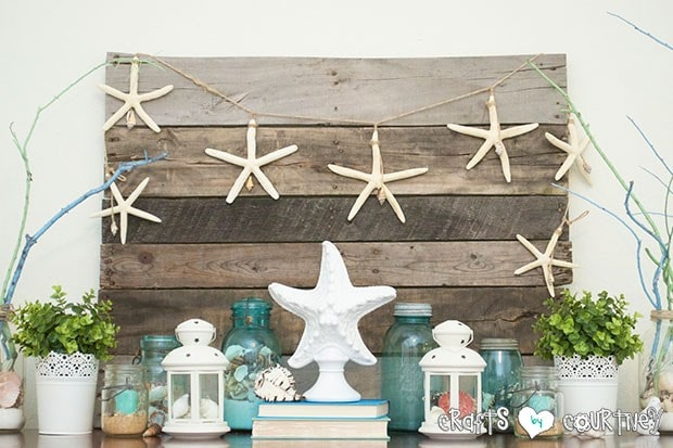 Summer Beach Decor Inspiration Entertainment Center Mason Jars Filled With Sand And Candles