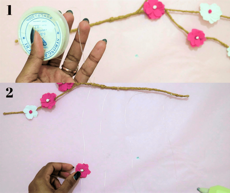 diy branch decor- stick the flowers on the transparent thread