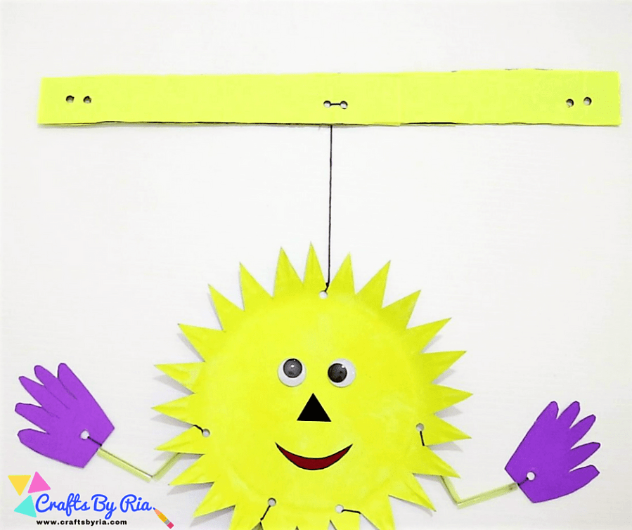 paper plate sun-attach the sun's face to the cardboard using a string