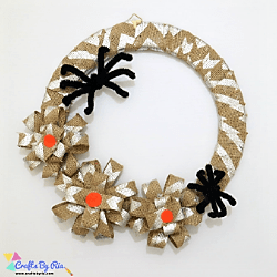 diy halloween wreath with burlap and spiders-thumbnail
