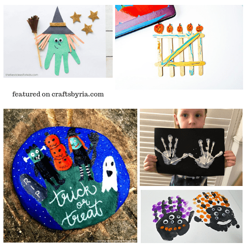 hand-tracing and fingerprint crafts-easy Halloween crafts for kids
