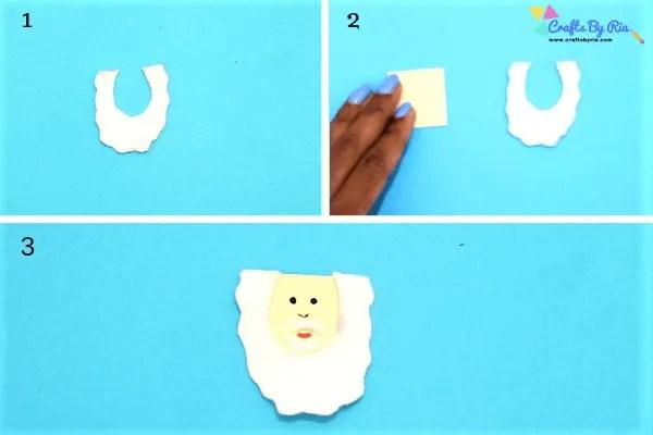Step 2 of making toilet roll santa- cut a white felt to make the santa's beard