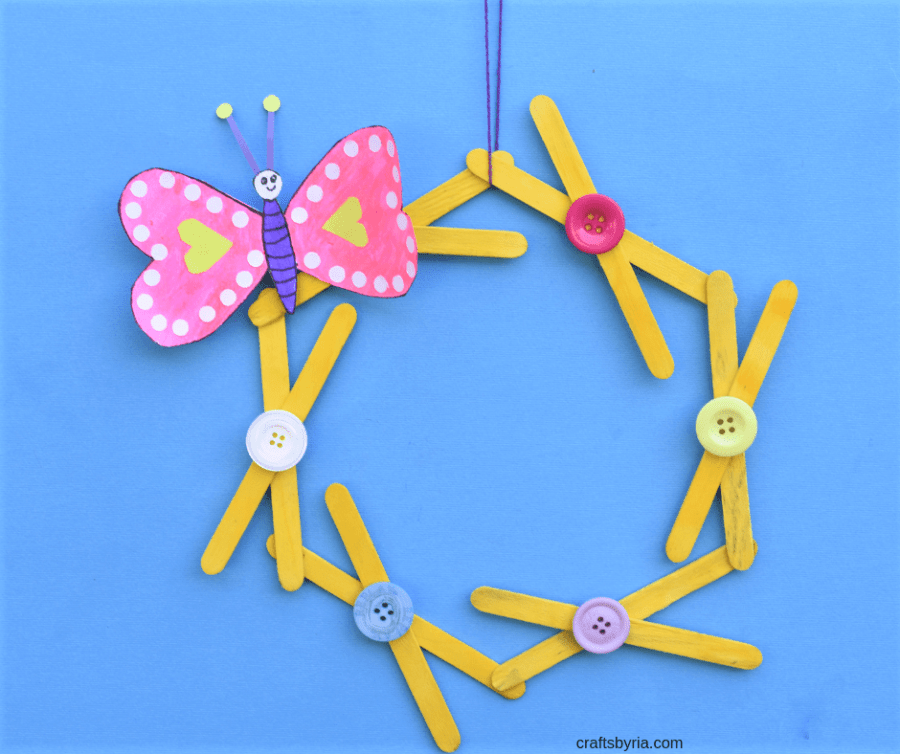 heart butterfly popsicle stick wreath craft-image for facebook