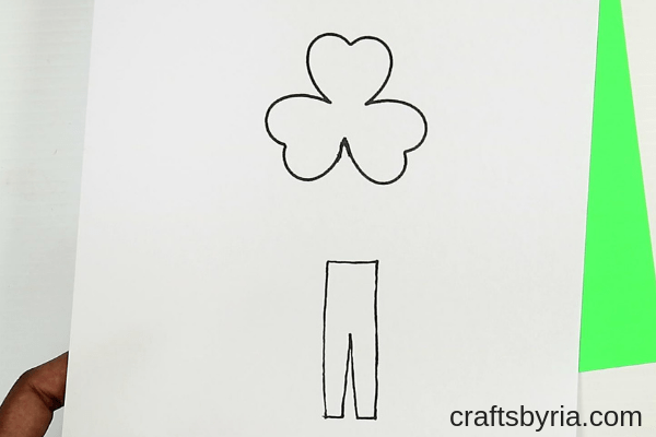St.Patrick's day crafts for kids- shamrock man-step1- download and print the shamrock leaf template