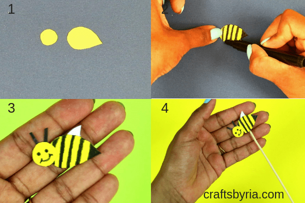 Fun spring craft for kids- Paper plate garden and moving bee-fb-step4
