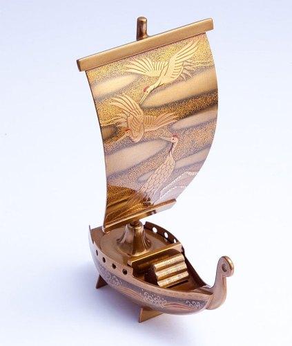 漆創池昭 輪島塗 乾漆 金地帆船香合