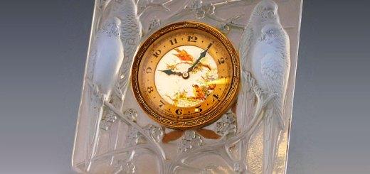 ルネ・ラリック 置時計 インコ
