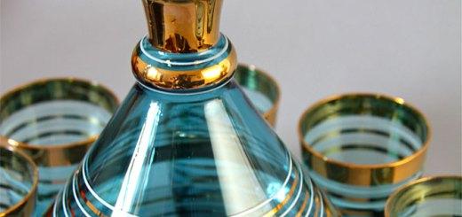 ボヘミアガラス コバルトブルー Gilted デカンタとグラスセット 1950年頃