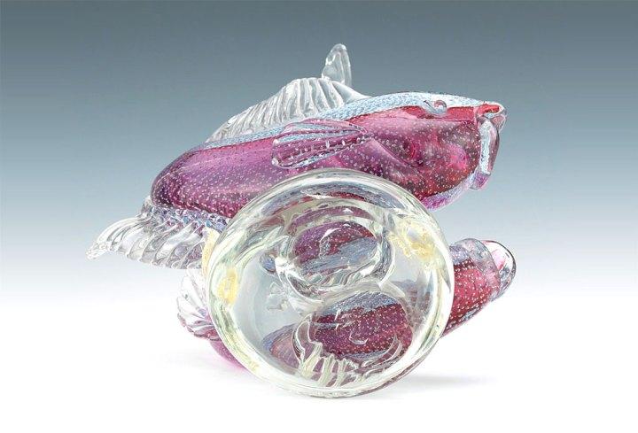 ヴェネチアガラス アルフレッド・バルビーニ オブジェ 二匹の魚 ( Venetian Glass Alfredo Barbini Glass Sculpture of Two Fish )