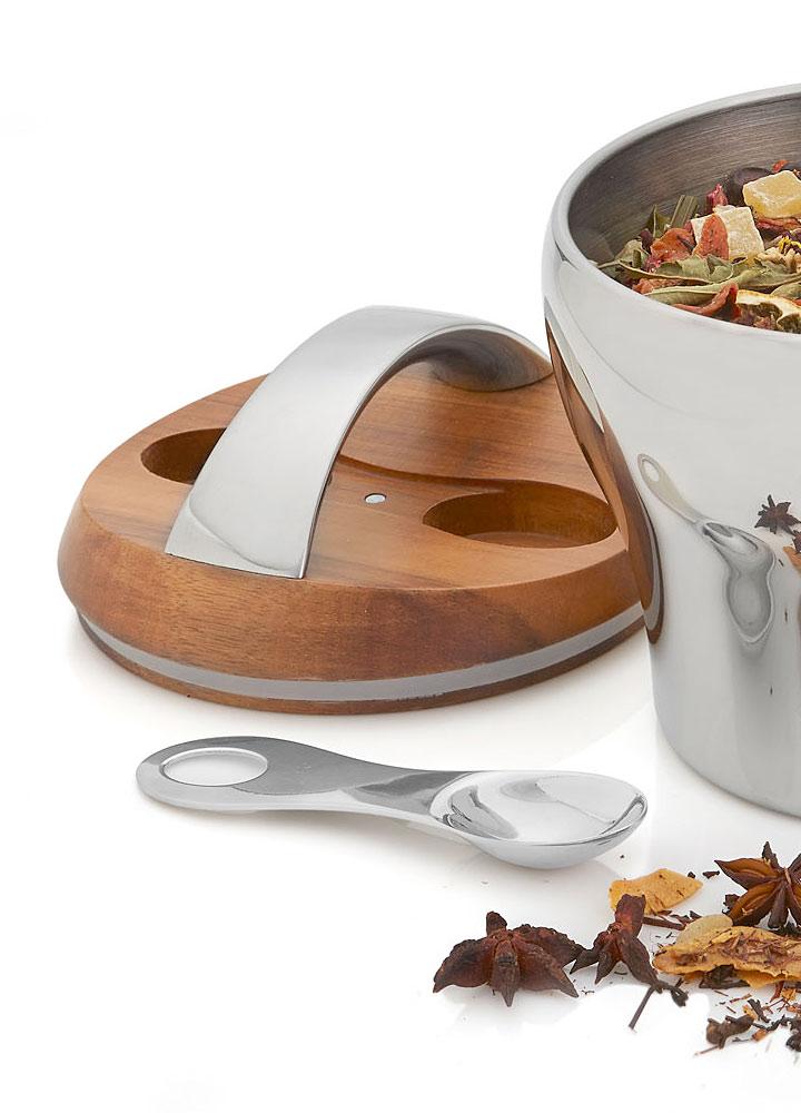 ナンベ ステンレス製 バルボー ティーキャニスター ( Nambe Metal Bulbo Tea Canister With Scoop )