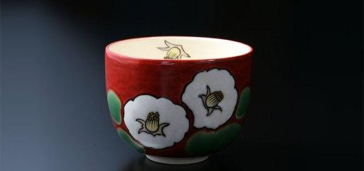 京焼・清水焼 抹茶碗 椿 京友禅