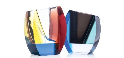 ボヘミアガラス モーゼル 花瓶 モンドリアン 3374 ( Bohemian Glass Moser Mondrian 3374, Hand Cut Vase )