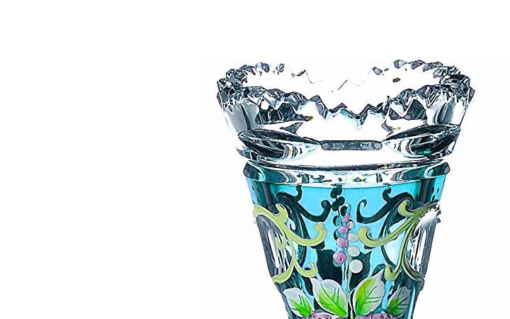 ボヘミアガラス ラスカ ブルーラスターローズ 一輪挿 ( Bohemian Glass Laska Blue Luster Rose Vase For One Flower )