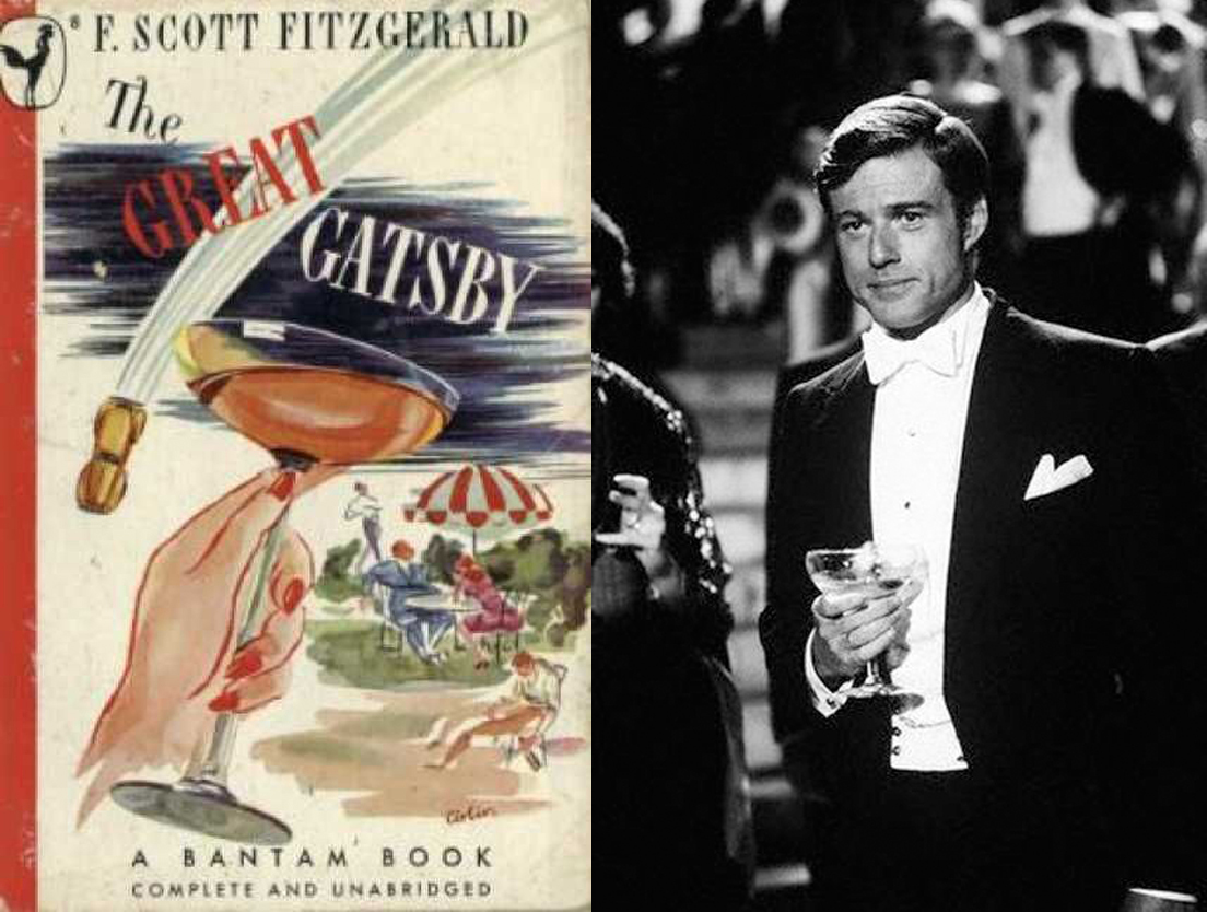 Left: Gatsby vintage champagne cover - Right: Redford as Gatsby 1974 Source: Pinterest