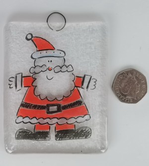 Jolly glass Santa