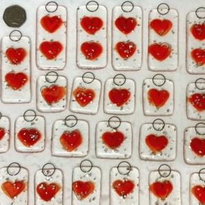 Hand made glass hearts