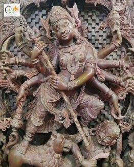 Soap Stone Khanja Work Maa Durga Statue 3 ft