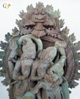 Soapstone Khanja Work Shiv Family Statue Parvati Holding Ganesha 15 in